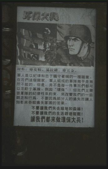 The good soldier: protecting the environment. Qingqing Shijie, Shenzhen, spring 2000